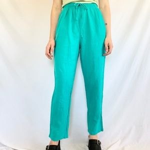 Vintage 80s Turquoise Elastic High Waist Pants